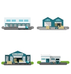 Warehouse Building Flat vector