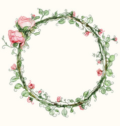 watercolor round rose flower frame vector image