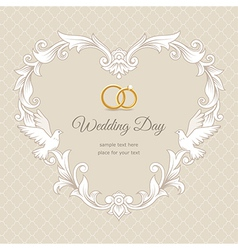 Wedding heart frame gold vector
