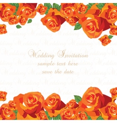 Wedding red roses card vector