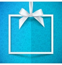 White paper gift box frame with silky bow vector