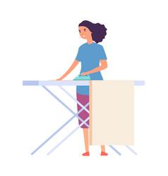 woman ironing housewife doing housework flat vector image