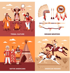american indians 2x2 design concept vector image