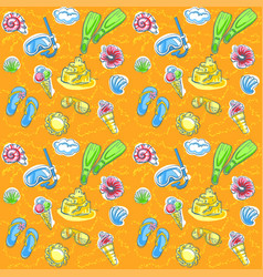 bright seamless pattern with seashells vector image