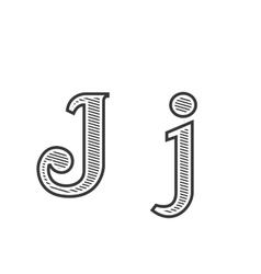 Font tattoo engraving letter J with shading vector image