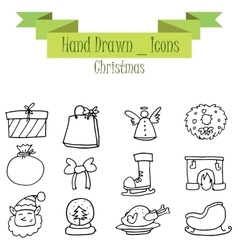 Hand draw of christmas set icon vector
