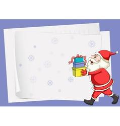 paper sheets and santa claus vector image vector image