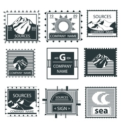 Set stamps emblem mountain vintage labels vector image vector image