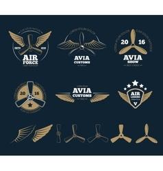 Aircraft design elements and logos vector image