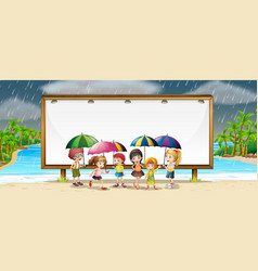 board template with kids in the rain vector image