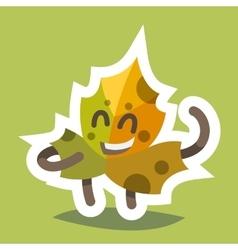 Emoticon Icon Friendly Maple Leaf vector image