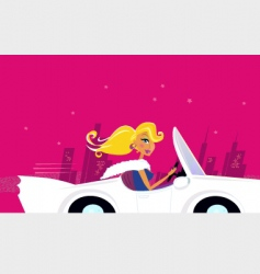 girly chick driver in car vector image vector image
