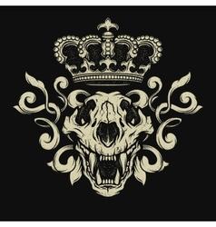 Lion skull Heraldic emblem vector image