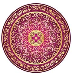 Round gold-purple-vintage pattern vector image