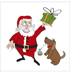 Santa Claus with gift vector image vector image