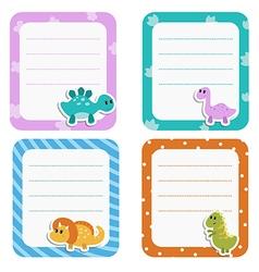 Set of cute creative cards with cartoon dinosaurs vector