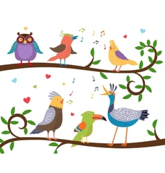 Singing birds on tree branches vector image vector image