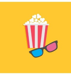 3D glasses and popcorn Cinema icon in flat dsign vector image vector image