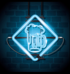beer drink neon label vector image