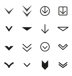 black Arrow buttons down icon set vector image vector image