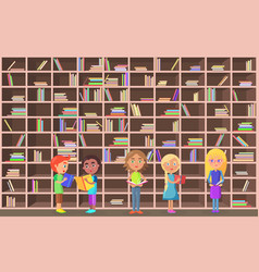 children holds literature on library background vector image
