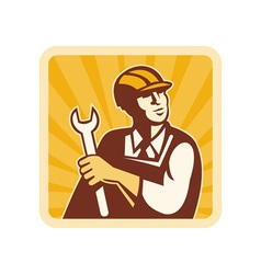 Construction worker engineer mechanic holding vector image vector image