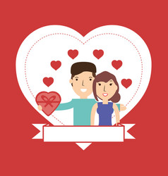 couple lover and romantic relationship with hearts vector image vector image