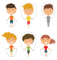 cute boys and girls skipping rope set vector image