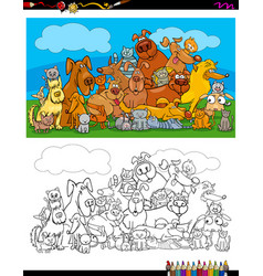 dogs and cats characters coloring book vector image vector image