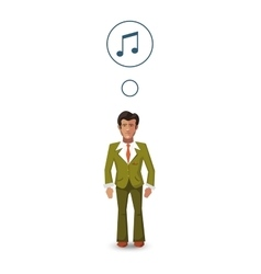 Flat character musician with with profession icon vector image vector image