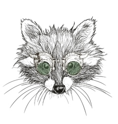 Hand drawn raccoon steampunk vector