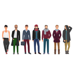 handsome and stylish men set cartoon guys male vector image vector image