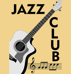 jazz club leaflet with monochrome guitar drawing vector image