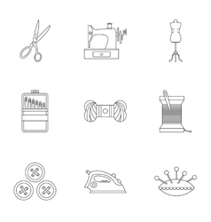 Range of tools for dressmakers icons set vector