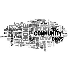 Active adult community in massachusetts text word vector