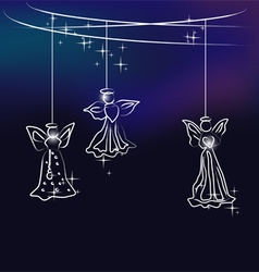 Angels the christmas tree decoration vector image vector image