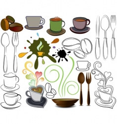 cups and spoons logos vector image