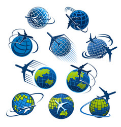 icons plane and world globe vector image vector image