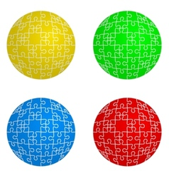 Jigsaw puzzle set form of spheres four colors vector image