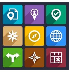 Map GPS and Navigation Flat Icons Set 46 vector image