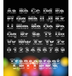Transparent glass letters and digits vector image