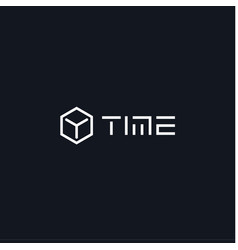 3d cube time icon clock logo concept for sport vector image
