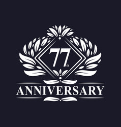 77 years anniversary logo luxury floral 77th vector