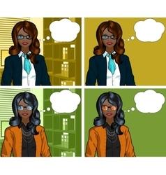 African businesswoman pop art comic vector