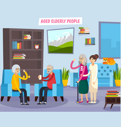 aged elderly people orthogonal composition vector image