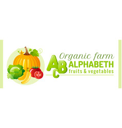 alphabet infographics food fruit and vegetable vector image