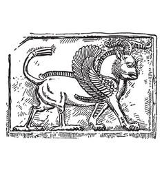 Assyrian relief sculpture is an important part vector
