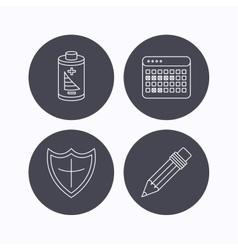 Battery calendar and pencil icons vector