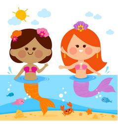 Beautiful mermaids swimming in water vector
