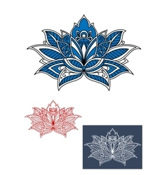 Blue flower with white paisley pattern vector